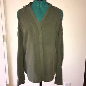 New York and Co Cold Shoulder Button Down in Olive